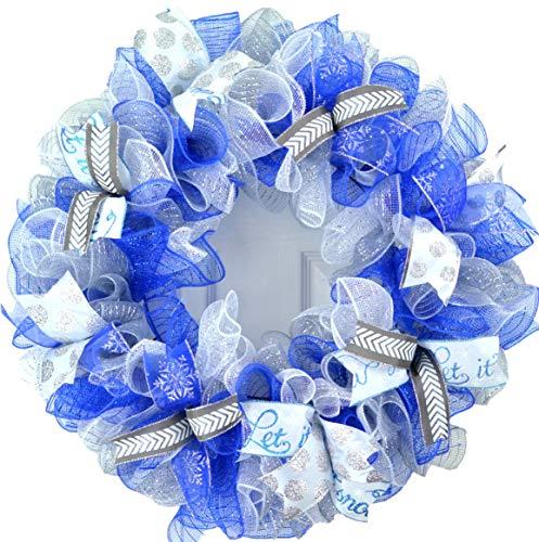 Winter Wreath - Christmas Winter Mesh Door Wreath; Royal Blue, White, Silver