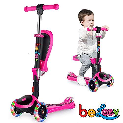 BELEEV 2-in-1 Kinderscooter Dreiradscooter mit Abnehmbarer Sitz, Kinderroller mit 3 Rädern für Kleinkinder Mädchen Jungen, 4 Einstellbare Höhe, PU LED Leuchtenden Rädern für Kinder (Rosa)
