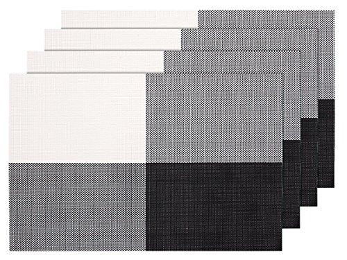 Lot de 4 Sets de table tressé gris noir blanc (TS-51)