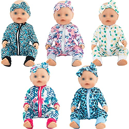 SOTOGO 5 Sets Doll Clothes Outfits Jumpsuits with 5 Headbands for 14 to 17 Inch New Born Baby Doll, 15 Inch Bitty Baby Doll and American 18 Inch Girl Doll