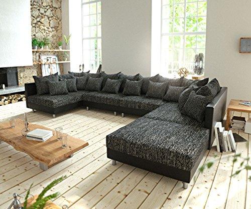 DELIFE Couch Clovis XL Schwarz mit Hocker Wohnlandschaft Modulares Sofa