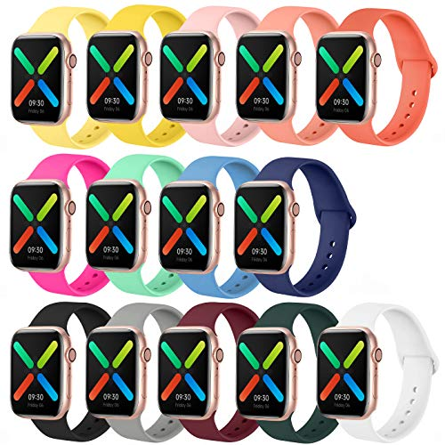 Smartwatch Bands Compatible with Apple Watch Band 40mm 38mm 44mm 42mm, SWHAS Soft Silicone Sport Band Replacement Wristband for iWatch Series 5 4 3 2 1