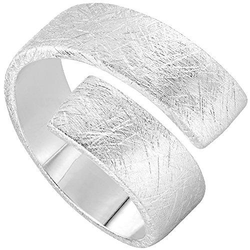 Vinani Ring Design Bandring massiv gebürstet anpassbar Sterling Silber 925 Größe 58 (18.5) 2RSS-58