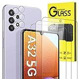 Pnakqil [ 5 Piezas ] 2 Piezas Protector de Lente de cámara para Samsung Galaxy A32 5G [Nor 4G] para Galaxy A12 / F12 M12 + 3 Piezas Protector de Pantalla 9H Dureza Vidrio Templado para Samsung A32 5G