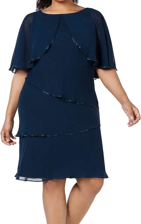 SLNY Womens Teal Embellished Tiered Short Sleeve Jewel Neck Knee Length Wear to Work Dress Size 16W