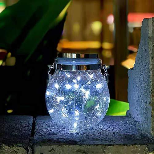 Lámparas Solares Exterior LED Guirnaldas Luces Exterior Solar Cadena de Bola Cristal Luz para Decoración Jardín Fiesta Balcón Navidad Vacaciones Bodas