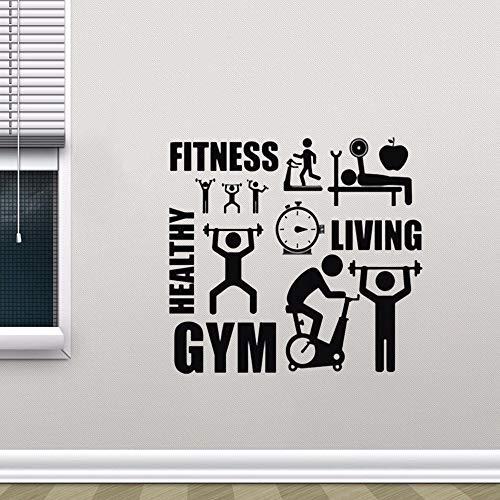 GIMNASIO Fitness Deportes Ejercicio Saludable Motivación Logotipo de dibujos animados Etiqueta de la pared DIY Calcomanía de vinilo Sala de entrenamiento Bodybuilding Club Dormitorio Decoración p