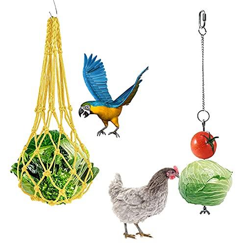 Keleily Comedero Colgante,2Piezas Comedero para gallinas Alimentador Colgante de Acero Inoxidable alimentador de Verduras y Frutas Colgante de Verduras Pollo para gallinas Patos Aves