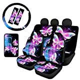 Dolyues Bling Star Purple Butterfly Car Seat Covers Full Set for Women Girly, 8pc Front Back Bench Accessories Black, Steering Wheel Cover for Cars SUV, Decor Armrest Cover Adults Seat Belt Pads