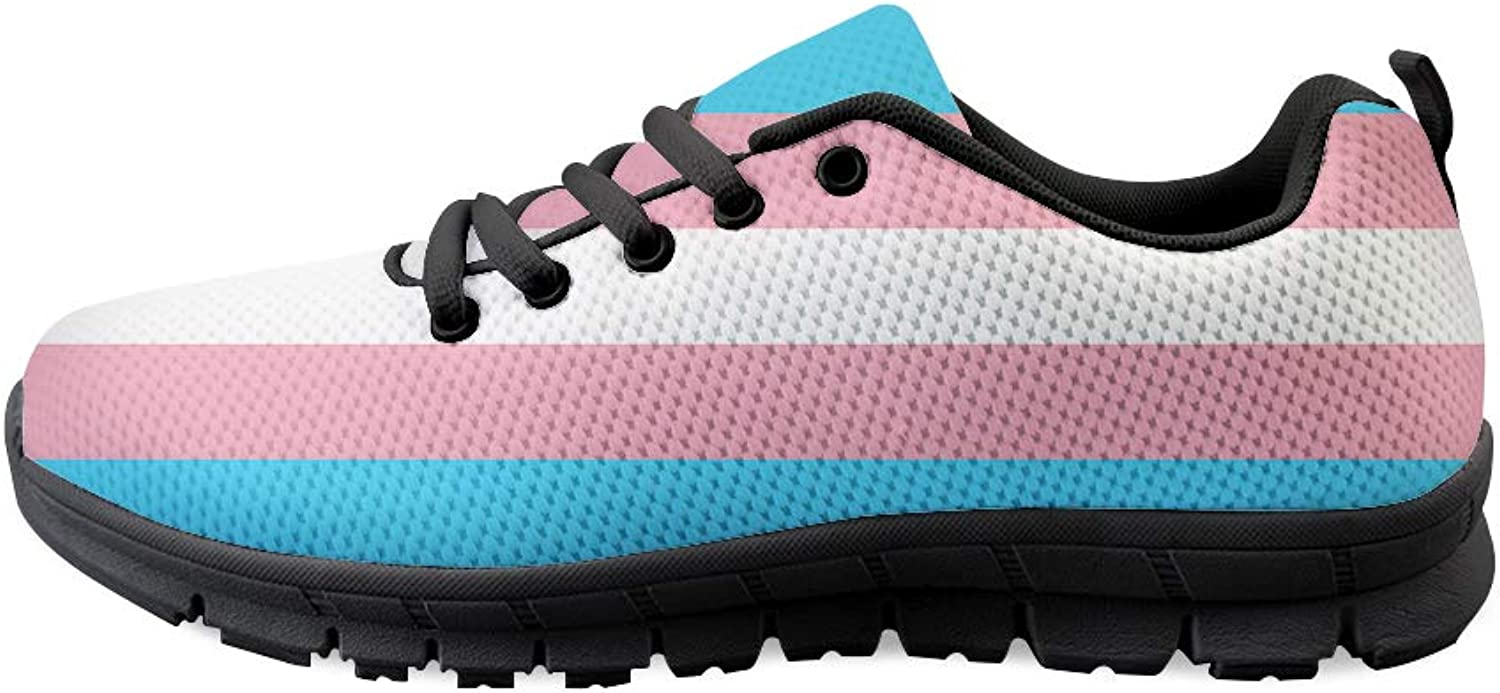 Owaheson Lace-up Sneaker Training shoes Mens Womens Transgender Pride Flag
