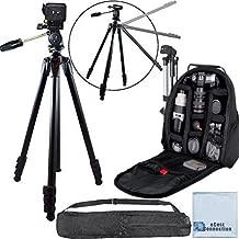 80-Inch Elite Series Professional Heavy Duty Camera Tripod + BP SLR Backpack for Pentax Pentax K-S2, 645Z, K-3 Prestige Edition, K-01, K-3, K-5, K5 II, K-5 IIS K-7, K-30, K-50, K-500, K-r, K-x, 645D & More... + Microfiber Cloth