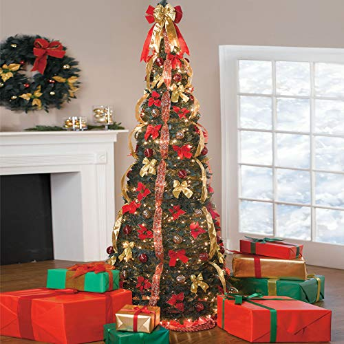 BrylaneHome Christmas Fully Decorated Pre-Lit 7 1/2' Pop-Up Christmas Tree, Red Gold