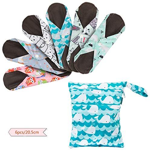 Teamoy Wiederverwendbare Binden, 6 Stück Slipeinlagen Waschbar, Menstruation Pads mit EXTRA Waschbare Tasche, (Klein-20,5 cm / 8 Zoll)