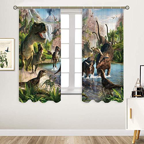 Sevendec Dinosaurier-Vorhang mit antiken Tieren, Jurassic Natur, Vorhang für Kinder, Wohnzimmer, Küche, Schlafzimmer, 2 Paneele (B x H) 29,5 x 65 cm