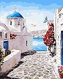 Pintura por Números para Adultos con Pinceles y Pinturas Decoraciones para el Hogar -Paisaje de la ciudad de grecia azul(16×20 Pulgadas,Sin Marco)