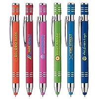 カスタムペン - Marin Softy w/Stylus - ColorJet- フルカラーメタルペン - $1.95/pc、数量100、セットアップコスト不要、ロゴ入りPromoStadiumTM オレンジ