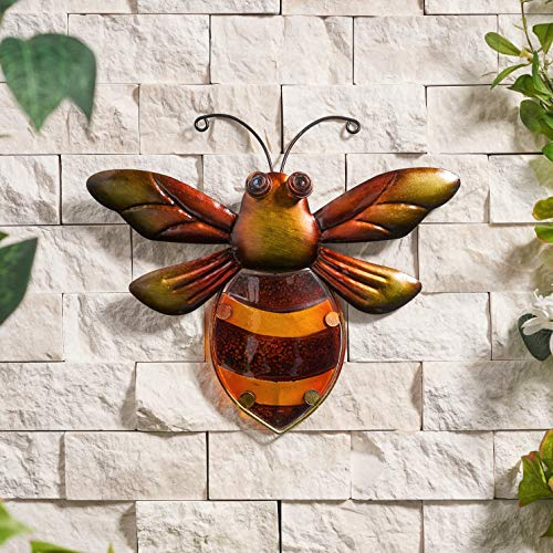 Creekwood Bumblebee Glass/Metal Garden Wall Art Decoration, (W26 x H26 cm)