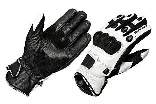 MBSmoto - Guantes de piel con protecciones para motocicletas, blanco