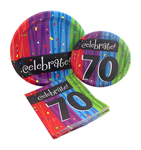 Celebrate 70 Happy Birthday Party Bundle with Paper Plates and Napkins for 8 Guests