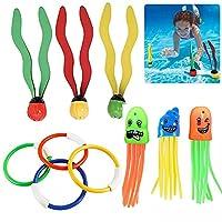 プールダイビングおもちゃ3セット/ 10個スイミングウォーターリング海藻バトン様々な子供たち水遊び夏の水中海藻ゲームおもちゃダイビング教材トレーニングスイミング用品