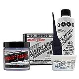 MANIC PANIC Virgin Snow Hair Toner Bundle with Flash Lightening Hair Bleach Kit 40 Volume Cream Developer