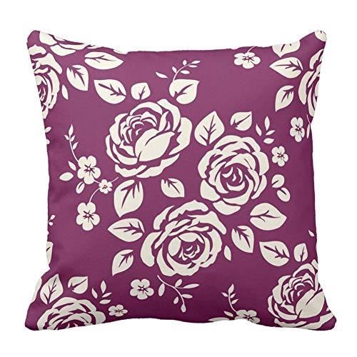 Screenes Chic Élégant Rose Imprimé Floral Motif Floral Home Square Taies Simple Style D'Oreiller Décoratif Throw Coussin Couvre Coussin Couvre (Color : Colour, Size : 16x16\