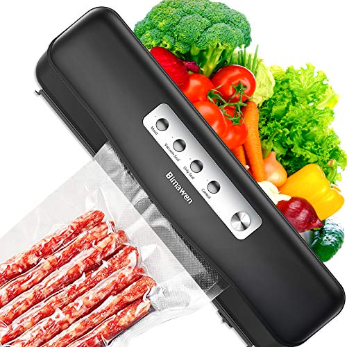 Vacuum Sealer Machine-Bimawen V1,with detachable cutter and bags,60kpa Fast sealing,External sucktion,Automatic Food Sealer,Dry Moist Food Modes,Compact Design(Black)