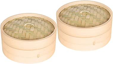 Flameer 2-Pack Natural Bamboo Steamer Basket Dim Sum Bamboo Steamers, Great for Asian Cooking, Buns, Dumplings, Vegetables, Fish, 7-inch