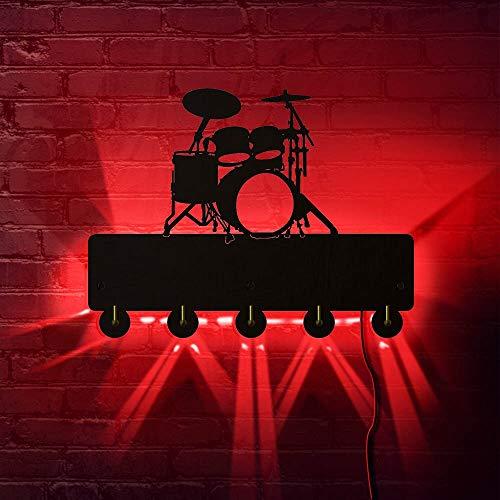 Instrumento musical Ganchos para toallas de baño Tambor LED Ganchos de luz de pared Puerta de pared Ropa Abrigo Sombrero Percha Llavero Regalo de batería con 7 colores Cambiar Amigo Regalos Lámpara