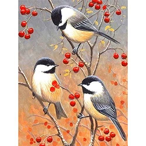 5D diamante pintura pájaro en el árbol diamantes de imitación imágenes de animales bordado Kit de punto de cruz mosaico artesanías decoración de la pared del hogar A13 40x50cm