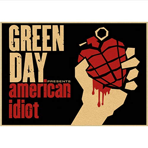 Vintage Retro Rock Band Green Day Music Guitar Matte Modern Fashion Antique Poster Etiqueta De La Pared Cartel Sin Marco Pintura 50X70Cm (N: 5230)