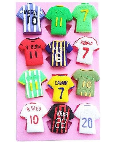 Camisetas de fútbol de equipo de fútbol de fútbol de silicona para fondant fondant, decoración de pasteles, decoración de cupcakes, resina, arcilla de polímero, fimo, pasta de goma, caramelo DIY: Amazon.es: Hogar
