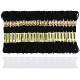 Pllieay - Set di 24 matasse di filo da ricamo in cotone nero e 12 farfalle avvolgifilo per...