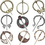 9 Piezas Broches Vikingos Vintage Pins de Capa Pin Broche Corchete de Hebilla de Chal Bufanda Broche Penanular para Accesorio de Vestuario, Plata Antigua, Oro y Oro Rosa (Estilo Retro)