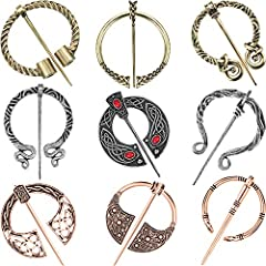 Adequate package: you will obtain 9 pieces of vintage viking brooches pins in 9 styles and 3 antique colors, enough to satisfy your daily decoration desire, can add your outfits a different elegance Stable material: made of zinc alloy with antique si...