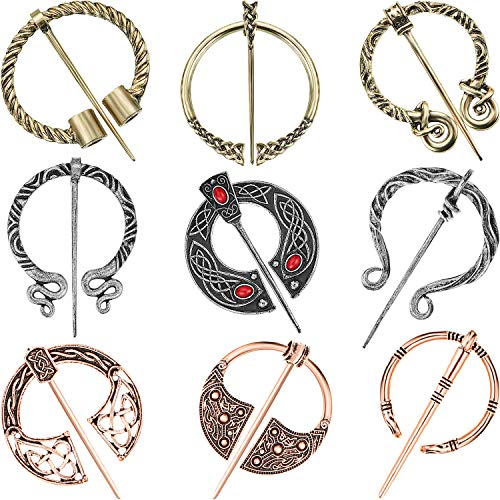 9 Pieces Vintage Viking Brooch Cloak Pin Scarf Shawl Buckle Clasp Pin Brooch Penannular Brooch for Costume Accessory, Antique Silver, Gold, Rose Gold (Retro Style)