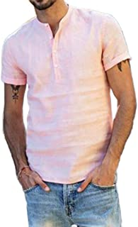 HEFASDM Mens Slimming Breathable Linen Mandarin Collar Tops Henley Shirt