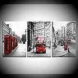 Pinturas modulares en lienzo, impresiones artísticas, 3 paneles, cartel de paisaje de la calle de Londres, decoración del hogar, cuadros de pared de paisaje para sala de estar