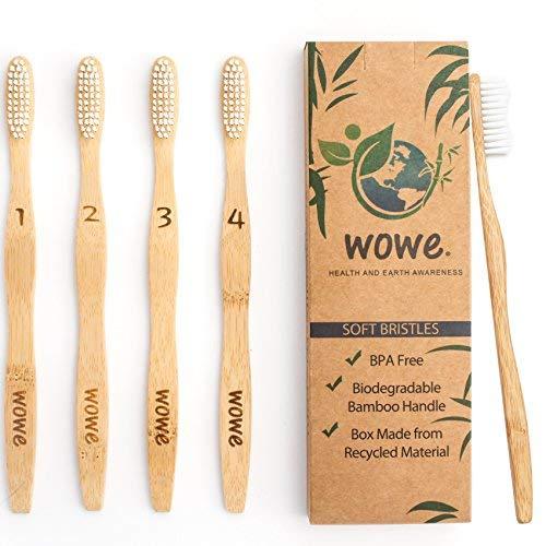 Wowe Lifestyle Natural Organic Bamboo Toothbrush Eco-Friendly Wood, Ergonomic Biodegradable Handle, Soft BPA Free Bristles, Pack of 4