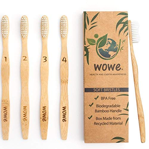 Wowe Lifestyle Natural Organic Bamboo Toothbrush Eco-Friendly Wood, Ergonomic Biodegradable Handle , Soft BPA Free Bristles, Pack of 4
