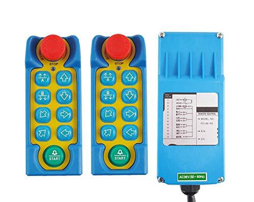 MXBAOHENG industriële kraan afstandsbediening hijskraan Telecontrol F21-8S draadloze bediening voor kraan met 2 zenders en 1 ontvanger, 36V