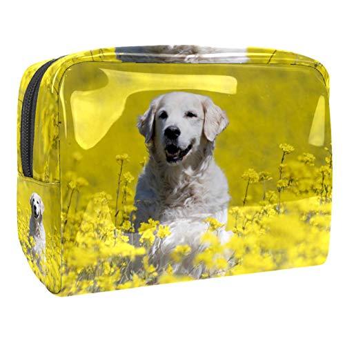 Bolsas de Maquillaje Estuche multifunción para Organizador de Bolsas de cosméticos de Viaje portátil Perro de Golden Retriever Que miente en la dow al Aire Libre con Neceser con Cremallera para Mujer