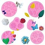 Moldes de silicona para fondant, PUDSIRN Mini flores y hojas de mariposa decorativas moldes de silicona para hornear tartas de chocolate, gelatina, azúcar y jabón (6 unidades)
