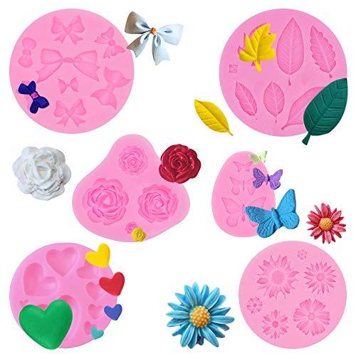PUDSIRN - Stampi in silicone per torte e fondenti, mini fiori a forma di farfalla e foglie di fiori, in silicone, per torte di cioccolato, gelatina, zucchero e sapone (confezione da 6)