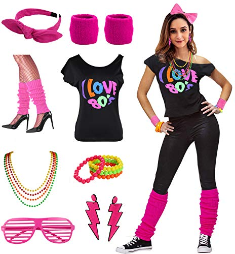Womens I Love the 80's Disco 80s Costume Outfit Accessories (M/L, 80s Hot Pink)