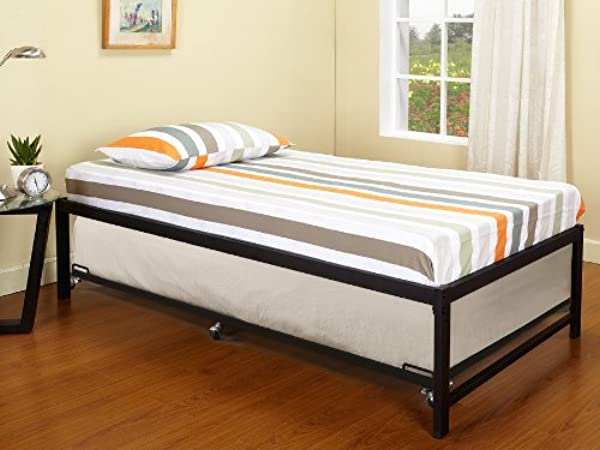 Kings Brand Furniture Black Metal Twin Size Platform Daybed Frame With Trundle Bed