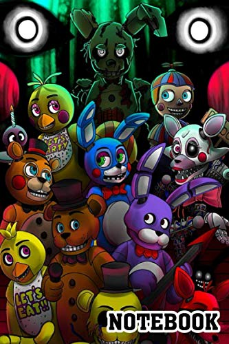 FNaF-all togheter Spiral Notebook: (110 Pages, Lined paper, 6 x 9 size, Soft Glossy Cover)