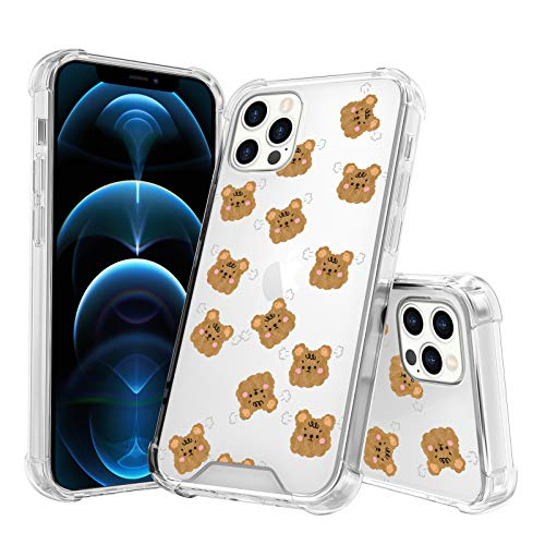 TEAUGHT iPhone 12 Pro Max Case (2020) 6.7 Inch Angry Little Bears Cute Clear Slim Light Anti-Scratch Four Corners Shockproof Drop Protection Bumper Phone Cover for Women Girl Kids