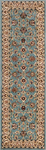 """Well Woven Noble Sarouk Light Blue Oriental 2x7 (2'3"""" x 7'3"""" Runner) Area Rug Traditional Persian Floral Carpet"""