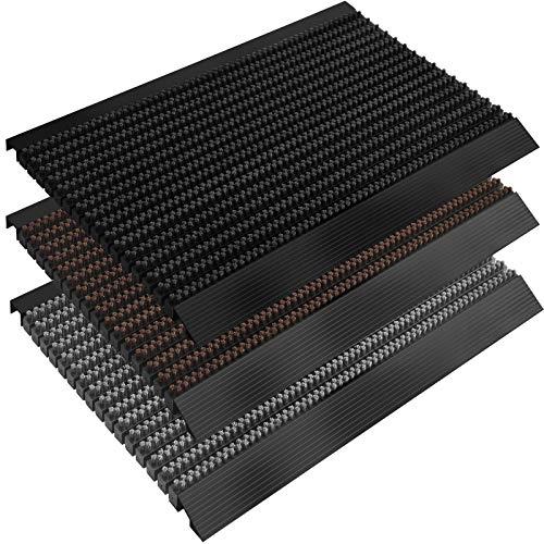 casa pura Fußmatte Power Brush mit Hochleistungs-Bürsten | TÜV geprüft | rutschfeste Schmutzfangmatte mit Anlaufprofil | Bürstenmatte für draußen (schwarz, 50x80 cm)